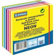 Öntapadó jegyzettömb, 76x76mm, 400 lap, DONAU, neon és pasztell színek (D75740)