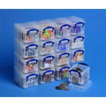 Műanyag tárolódoboz, átlátszó, aprócikkek számára, 16x0,14 liter, REALLY USEFUL (CSDRU6014C)