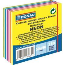 Öntapadó jegyzettömb, 50x50mm,250 lap, DONAU,  neon és pasztell színek (D75750)