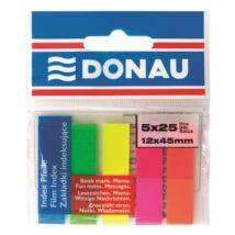 Jelölőcímke, műanyag, 5x25 lap, 12x45 mm, DONAU, neon szín (D7577)