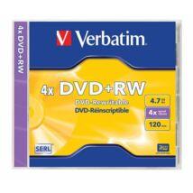 DVD+RW lemez, újraírható, 4,7GB, 4x, normál tok, VERBATIM (DVDVU+4)