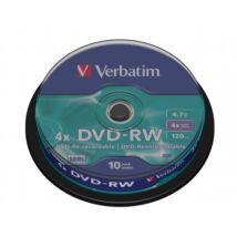 DVD-RW lemez, újraírható, 4,7GB, 4x, hengeren, VERBATIM (DVDVU-4B10)