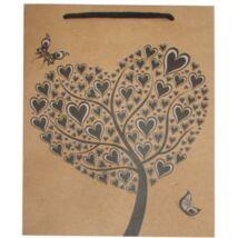 Dísztasak, 24,5x19x8 cm, szív fa, natúr (HPRT1009)