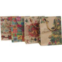 Dísztasak, 24x33x8 cm, natúr, karácsonyi minták (HPRT924)