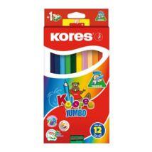 Színes ceruza készlet, háromszögletű, vastag, KORES Jumbo, 12 különböző szín (IK100712)
