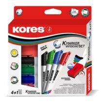 Tábla- és flipchart marker készlet mágneses táblatörlő szivaccsal, 1-3 mm, kúpos KORES, 4 különböző szín (IK20863)