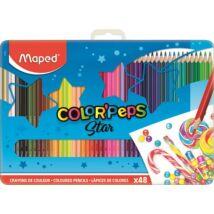 Színes ceruza készlet, háromszögletű, fém doboz, MAPED Color`Peps, 48 különböző szín (IMA832058)