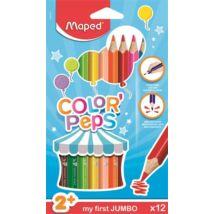 Színes ceruza készlet, háromszögletű, vastag, MAPED Jumbo, 12 különböző szín (IMA834010)