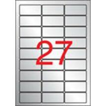 Etikett, 63,5x29,6 mm, poliészter, időjárásálló, kerekített sarkú, APLI, ezüst, 540 etikett/csomag (LCA10070)