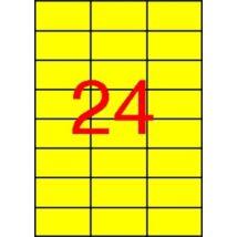 Etikett, 70x37 mm, színes, APLI, sárga, 2400 etikett/csomag (LCA11834)