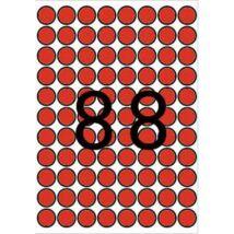 Etikett, 16 mm kör, színes, A5 hordozón, APLI, piros, 704 etikett/csomag (LCA12101)
