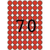 Etikett, 19 mm kör, színes, A5 hordozón, APLI, piros, 560 etikett/csomag (LCA12105)