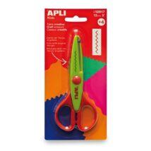 Olló, cikkcakk, 13 cm, APLI, zöld (LCA12817)