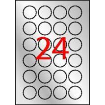 Etikett, 40 mm kör, poliészter, időjárásálló, APLI, ezüst, 480 etikett/csomag (LCA12975)