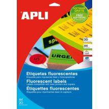 Etikett, 99,1x139 mm, színes, kerekített sarkú, APLI, neon zöld, 80 etikett/csomag (LCA12998)