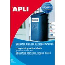Etikett, 63,5x38,1 mm, poliészter, időjárásálló, kerekített sarkú, APLI, 420 etikett/csomag (LCA15088)