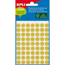 Etikett, 8 mm kör, kézzel írható, színes, APLI, sárga, 288 etikett/csomag (LCA2044)