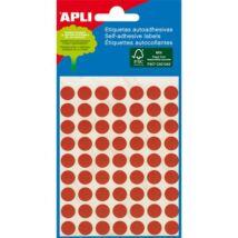 Etikett, 8 mm kör, kézzel írható, színes, APLI, piros, 288 etikett/csomag (LCA2046)