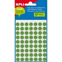 Etikett, 8 mm kör, kézzel írható, színes, APLI, zöld, 288 etikett/csomag (LCA2047)