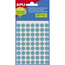 Etikett, 10 mm kör, kézzel írható, színes, APLI, kék, 315 etikett/csomag (LCA2052)