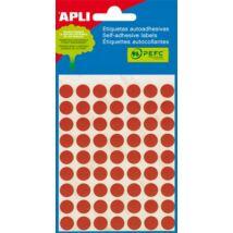 Etikett, 10 mm kör, kézzel írható, színes, APLI, piros, 315 etikett/csomag (LCA2053)