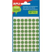 Etikett, 10 mm kör, kézzel írható, színes, APLI, zöld, 315 etikett/csomag (LCA2054)
