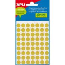 Etikett, 13 mm kör, kézzel írható, színes, APLI, sárga, 175 etikett/csomag (LCA2055)