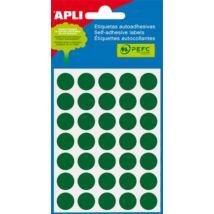 Etikett, 13 mm kör, kézzel írható, színes, APLI, zöld 175 etikett/csomag (LCA2058)