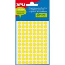 Etikett, 8 mm kör, kézzel írható, színes, APLI, neon sárga, 288 etikett/csomag (LCA2079)