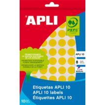 Etikett, 10 mm kör, kézzel írható, színes, APLI, sárga, 1008 etikett/csomag (LCA2730)