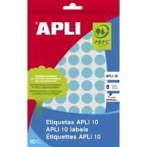 Etikett, 10 mm kör, kézzel írható, színes, APLI, kék, 1008 etikett/csomag (LCA2731)