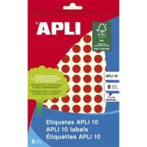 Etikett, 10 mm kör, kézzel írható, színes, APLI, piros, 1008 etikett/csomag (LCA2732)