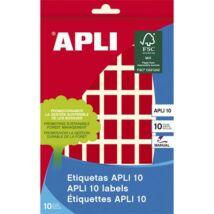 Etikett, 12x18 mm, kézzel írható, színes, kerekített sarkú, APLI, piros, 448 etikett/csomag (LCA2752)