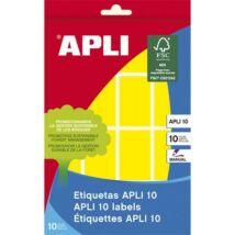 Etikett, 25x40 mm, kézzel írható, színes, kerekített sarkú, APLI, sárga, 128 etikett/csomag (LCA2754)