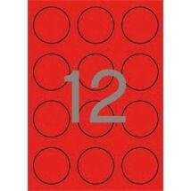 Etikett, 60 mm kör, színes, APLI, neon piros, 240 etikett/csomag (LCA2868)