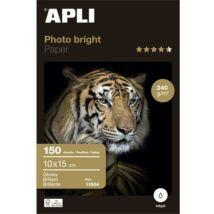 Fotópapír, tintasugaras, 10x15 cm, 240 g, fényes, APLI Photo Bright (LEAA11504)