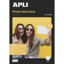Fotópapír, tintasugaras, A4, 140 g, fényes, APLI Best Price (LEAA11804)