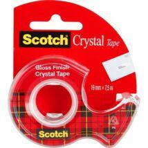 Ragasztószalag, adagolón, kézi, 19 mm x 7,5 m, 3M SCOTCH Crystal (LPM61975D)