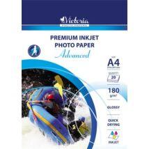 Fotópapír, tintasugaras, A4, 180 g, fényes, VICTORIA Advanced (LVIG01)