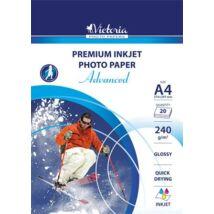 Fotópapír, tintasugaras, A4, 240 g, fényes, VICTORIA Advanced (LVIG03)
