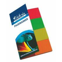 Jelölőcímke, papír, 4x40 lap, 20x50 mm, VICTORIA, vegyes szín (LVJP2)