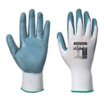 Védőkesztyű, nitril, XL méret, Flexo Grip szürke-fehér (MED098)