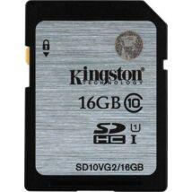 Memóriakártya, SDHC, HD Video, 45mb/s, 16GB, Class 10, KINGSTON SD10VG2 (MKSVS16G2)