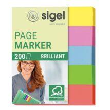 Jelölőcímke, papír, 5x40 lap, 12x50 mm, SIGEL Brilliant Mini, vegyes szín (SIHN625)