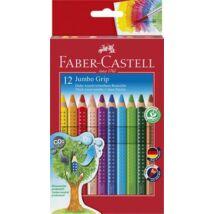 Színes ceruza készlet, háromszögletű, FABER-CASTELL Jumbo Grip, 12 különböző szín + hegyező (TFC110912)