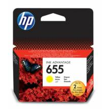 CZ112E Tintapatron Deskjet Ink Advantage 3520 sor nyomtatókhoz, HP 655 sárga, 600 oldal (TJHCZ112E)