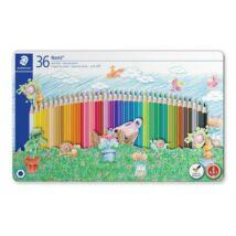 Színes ceruza készlet, fém doboz, hatszögletű, STAEDTLER Noris Club , 36 különböző szín (TS145SPM36)