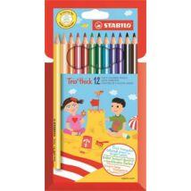 Színes ceruza készlet, háromszögletű, vastag, STABILO Trio thick, 12 különböző szín (TST20312)
