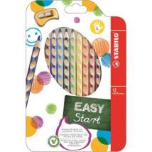 Színes ceruza készlet, háromszögletű, balkezes, STABILO EasyColours, 12 különböző szín (TST33112)