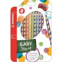 Színes ceruza készlet, háromszögletű, jobbkezes, STABILO EasyColours, 12 különböző szín (TST33212)